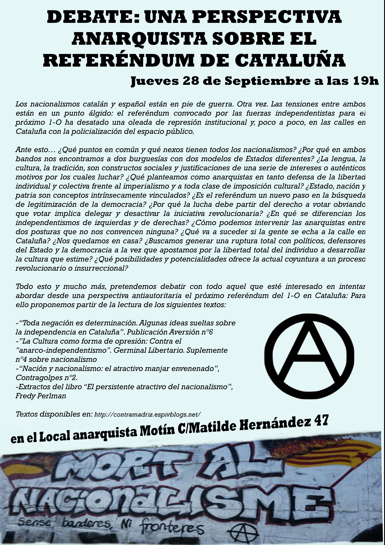 [Madrid] Debate: Una perspectiva anarquista sobre el referéndum de Cataluña + textos del debate
